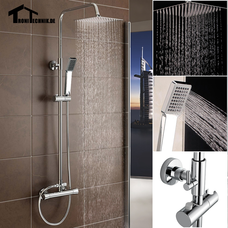 Chrome Squre Thermostatic Water Shower Faucet Set Bath Tub Shower Mixers  Handshower Rain Showerhead  9usd discount for UK BUYER