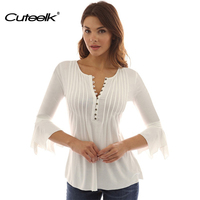 Cuteelk Casual Women Tops Shirts V neck Solid Cotton T-shirts Flare Sleeve Waist Button Autumn / Spring Womens Sexy Basic Tees