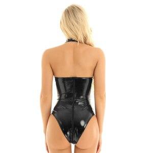 Iiniim женское сексуальное боди для танцевальных клубов, вечеринок, Wetlook, женское белье из лакированной кожи, облегающее боди с высоким вырезом...
