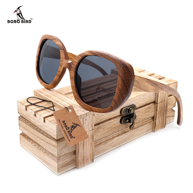 BOBO BIRD New Mens Vintage Zebra Wood zonnebril Womens gepolariseerde UV400 Protect Coating Mirror Wood Sun Glasses in houten kist