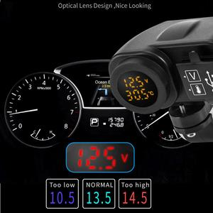 Image 2 - Motorcycle Dual Usb Charger Voltmeter Thermometer Voor Mobiele Telefoons/Tabletten/Gps Dubbele Usb Socket Thermometer, Voltmeter