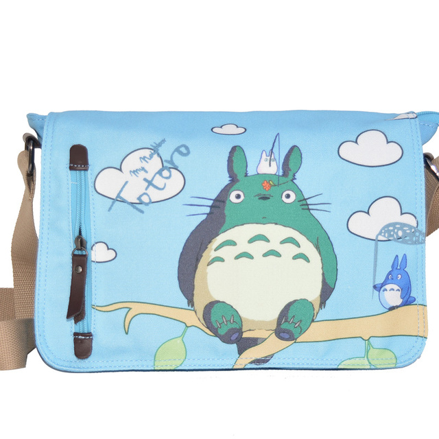 Anime Meu Vizinho Totoro Totoro Saco Impressão saco do Mensageiro Saco de Lona Bolsa de Ombro Bonito Azul Cosplay Adolescentes Mochila