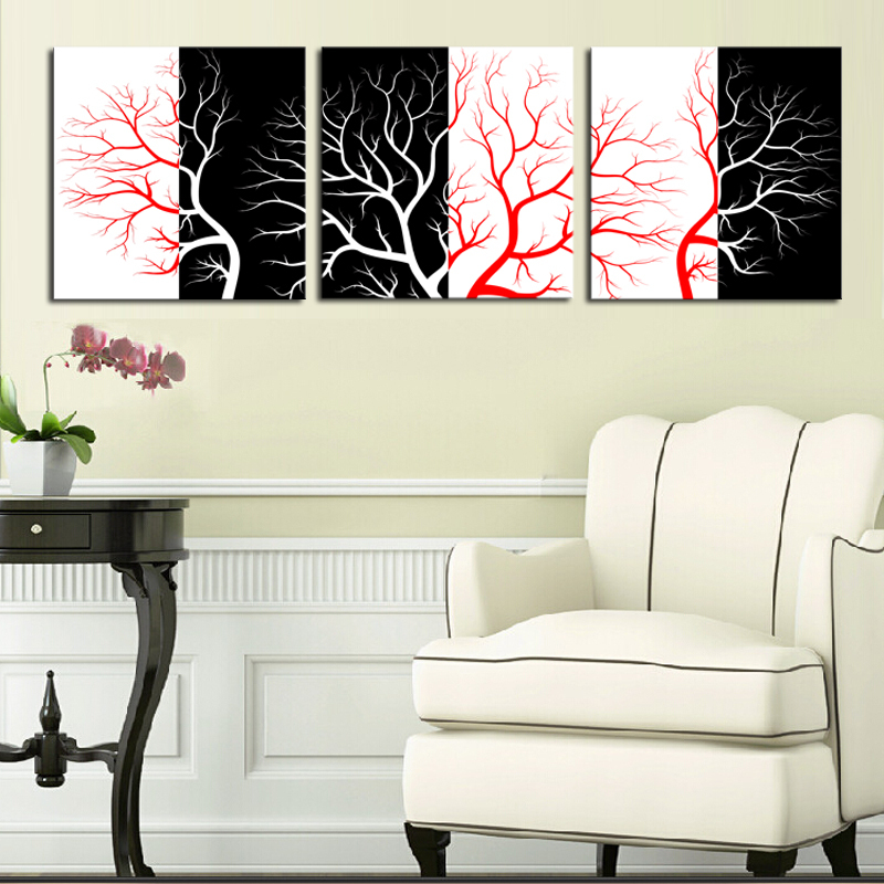Unframed 3 Panels Abstract Wall Painting Modern Fashion Red Black White Tree canv Painting Home Decorative Art Picture On Canvas ...