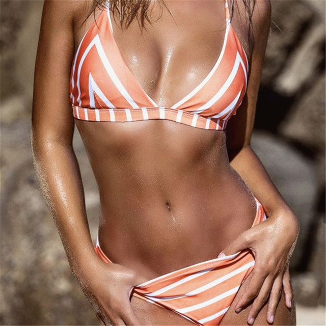 2018 sexy bikini set swim suite triangle shoulder strap INS hot printing orange blue green High Waist Push Up Bathing Suit Mayo 4