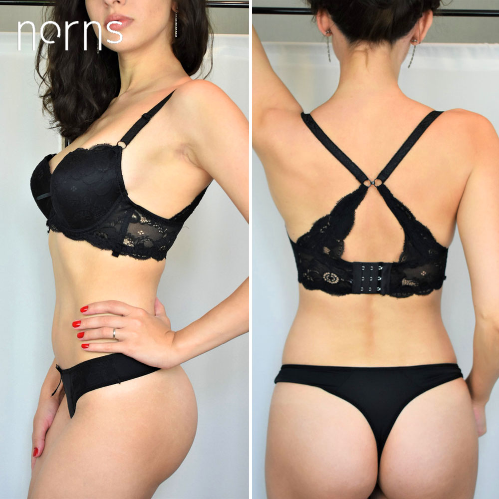 Norns Sexy Y-line Straps Lingerie Set Bra Push Up Embroidery Printing Stripe Underwear Brassiere Lingerie Female Set Lace Unde