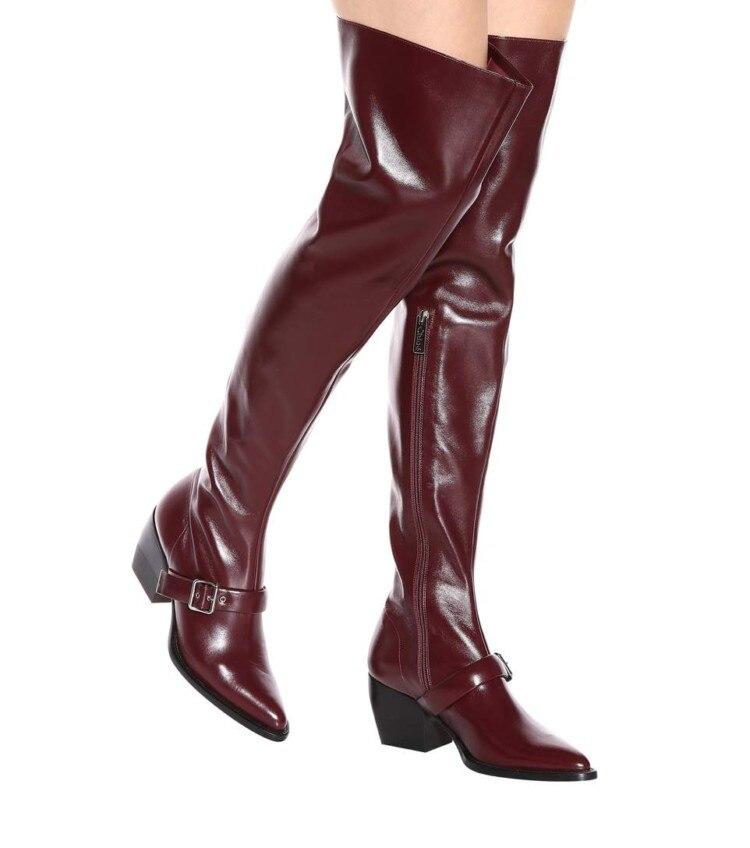 Hautes Pi Bas Ceinture Chaussons Hiver Femme Talon Longues As Cuir Taille Moto Pic De Sur En Sangle 45 Neige Bottes Botte 35 as qP88AwB