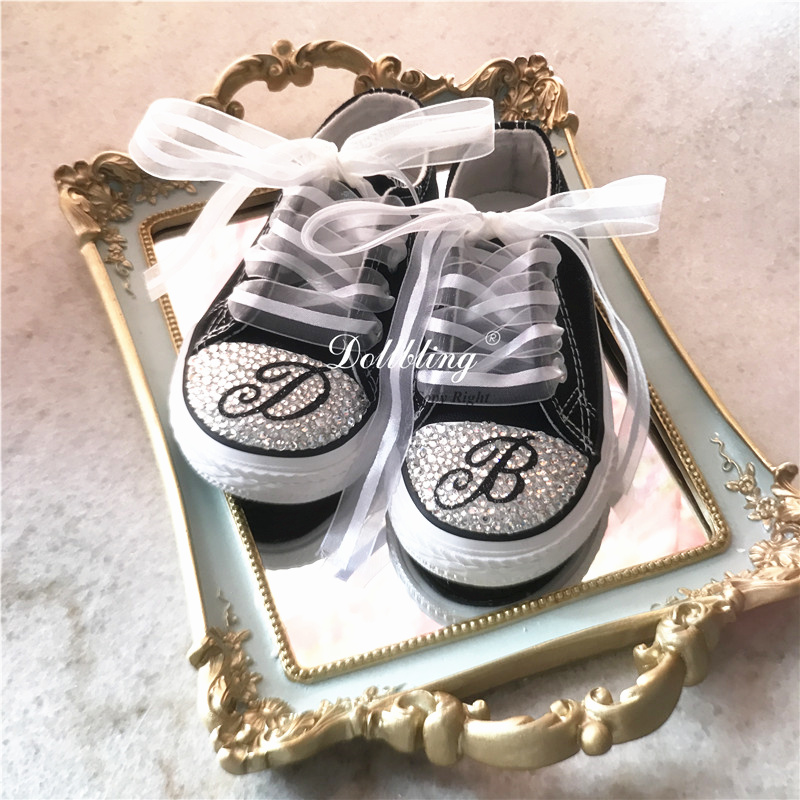 Customized Your Name Original Kid Shoes Sparkle Rhinestone Monogram Baby Girl Handmade Gift Crystal Canvas Flats Sneakers|Sneakers| |  - title=