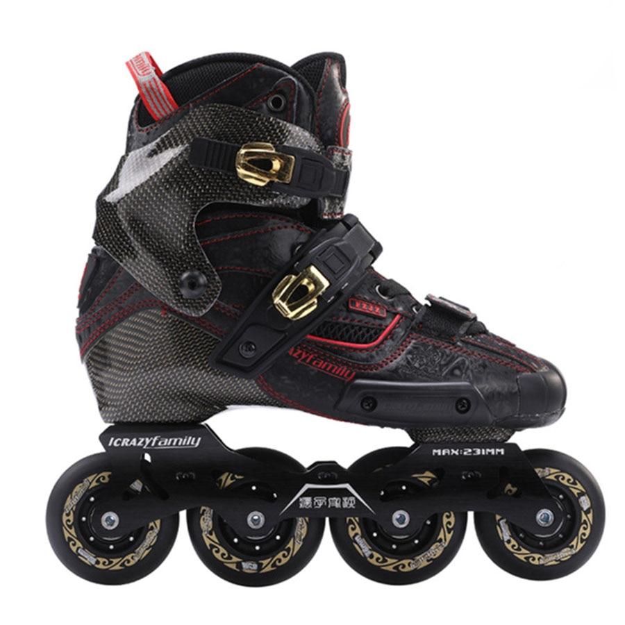 2019 Crazy Carbon Fiber Professional Slalom Inline Skates Adult Roller Free Skating Shoes Sliding Patines Similar