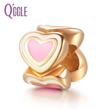 QGGLE Rose Gold C Pink White Heart Bead & Charm Fit Bangles & Bracelets For Women Valentine Day Gift