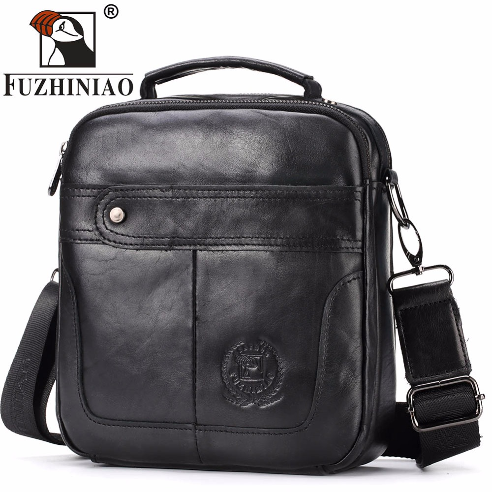 FUZHINIAO Shoulder Bag Men 2018 Genuine Leather Messenger Crossbody Handbag Designer Small Bolsas Sac Sling Chest Briefcase Male