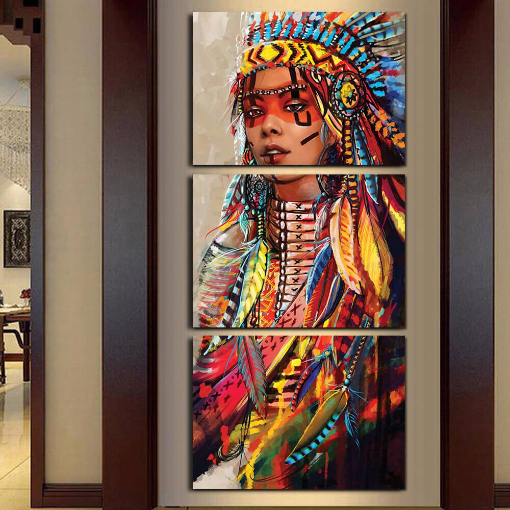 Native American Girl Feathers 3 panel canvas Wall Art Home Decor Print Poster