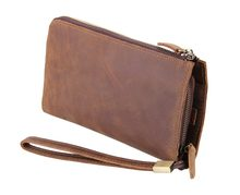 Crazy horse leather Men Wallets Genuine Leather Long Purse For Men Zipper Large Capacity Card Holder Men Purse(China)