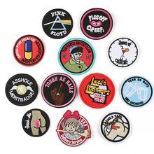 100pcs Embroidered Circle Patches for Clothing DIY Stripes Applique Clothes Stickers Iron on Badge Parches
