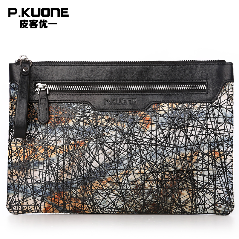 P.KUONE Men Clutch Wallets Vintage Genuine Leather Clutch Bag High Quality Designer Men Wallet Coin Purse Casual Evening Handbag high quality leather men s clutch wallets wholesale leather clutch bag zipper coin bag men big wallet wholesale drop shipping