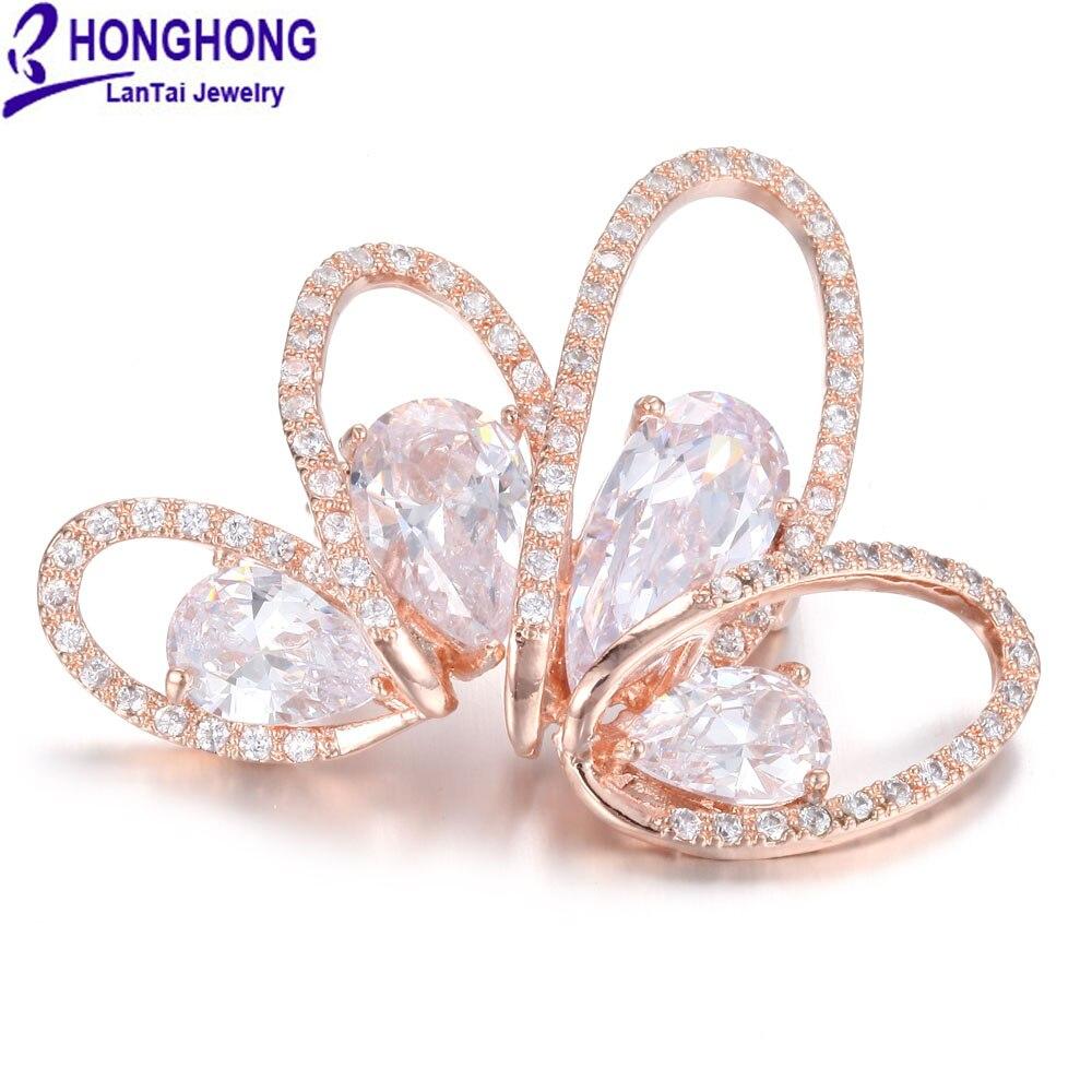 Honghong alta calidad CZ flor corona Broches Pasadores para las ...