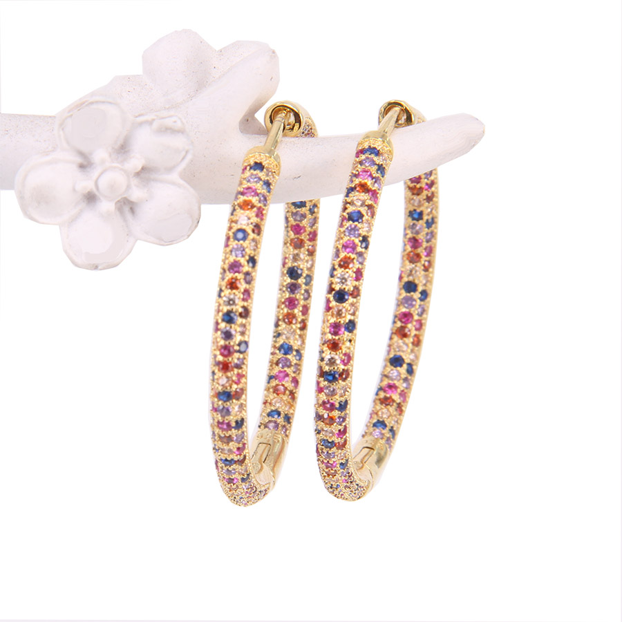 Hemiston Thomas Gold Full Paved ROYALTY COLOURFUL STONES Creole Hoop Earrings, Romantic Jewelry Gift For Women TS 126GCX locket