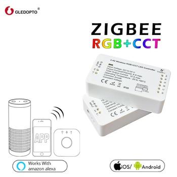 G светодиодный Светодиодный контроллер OPTO ZIGBEE RGB + CCT RGBW RGB WW/CW ZIGBEE контроллер DC12-24V smart zll app контроллер workwith aleax plusle