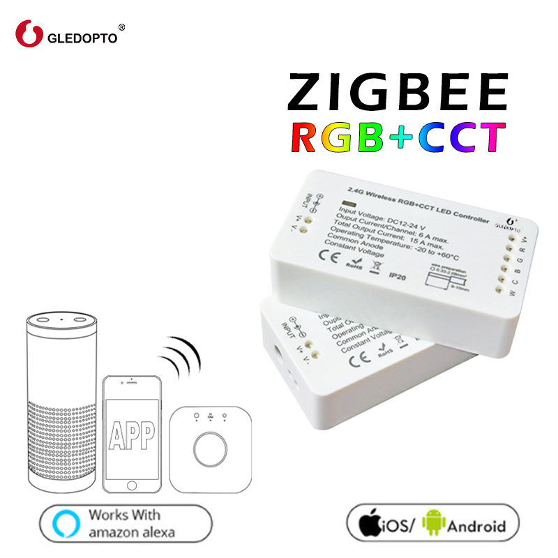 GLEDOPTO ZIGBEE RGB Ha Condotto il regolatore + CCT RGBW RGB WW/CW zigbee regolatore dc12-24v intelligente zll app controller workwith aleax plusle