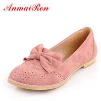 ANMAIRON New Cute Bow Flats Shoes Women Fashion Women Casual Ladies Shoes Size 43 Pink Blue Beige Ballet Shoes Woman Girl Shoes
