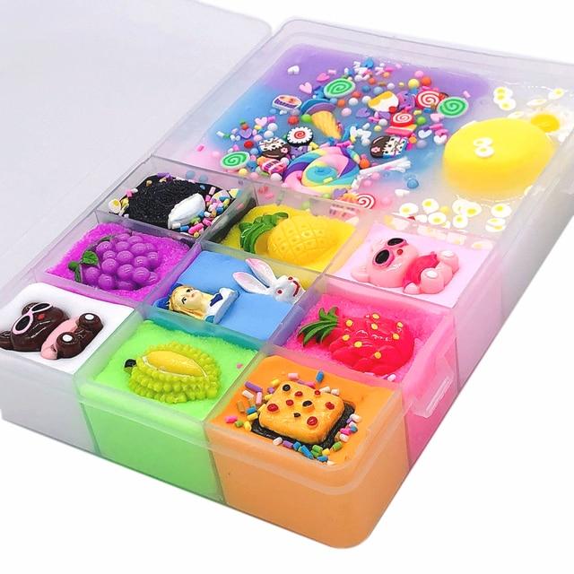 500 ml DIY nuevos personajes Slime arcilla suave elástico fruta muñeca limo niños juguetes para niños Regalo de Cumpleaños de Navidad conjunto