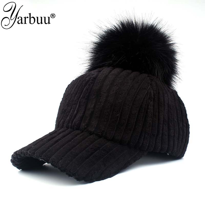 [YARBUU]  baseball     cap   2017 Solid Color Corduroy Winter Warm   Baseball     caps   for women Faux fur ball   cap   Leisure Casual Snapback hat