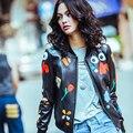 Outono Nova Outerwear Casacos de pele de Carneiro Couro Genuíno das Mulheres/Flor Impresso/Look Casual LW9008