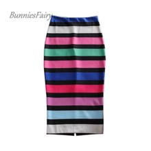 BunniesFairy Brand New Sexy Women Elegant Celebrity Pencil Skirt Candy Color Striped Print High Waist Long Pencil Skirt Tube