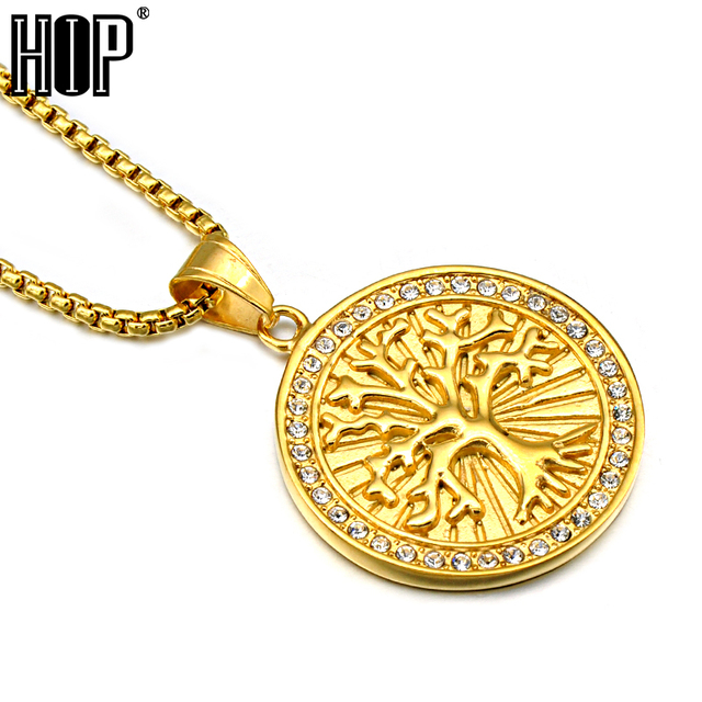 Hip hop gold color stainless steel tree of life wisdom tree hip hop gold color stainless steel tree of life wisdom tree pendants necklaces for men jewelry aloadofball Choice Image