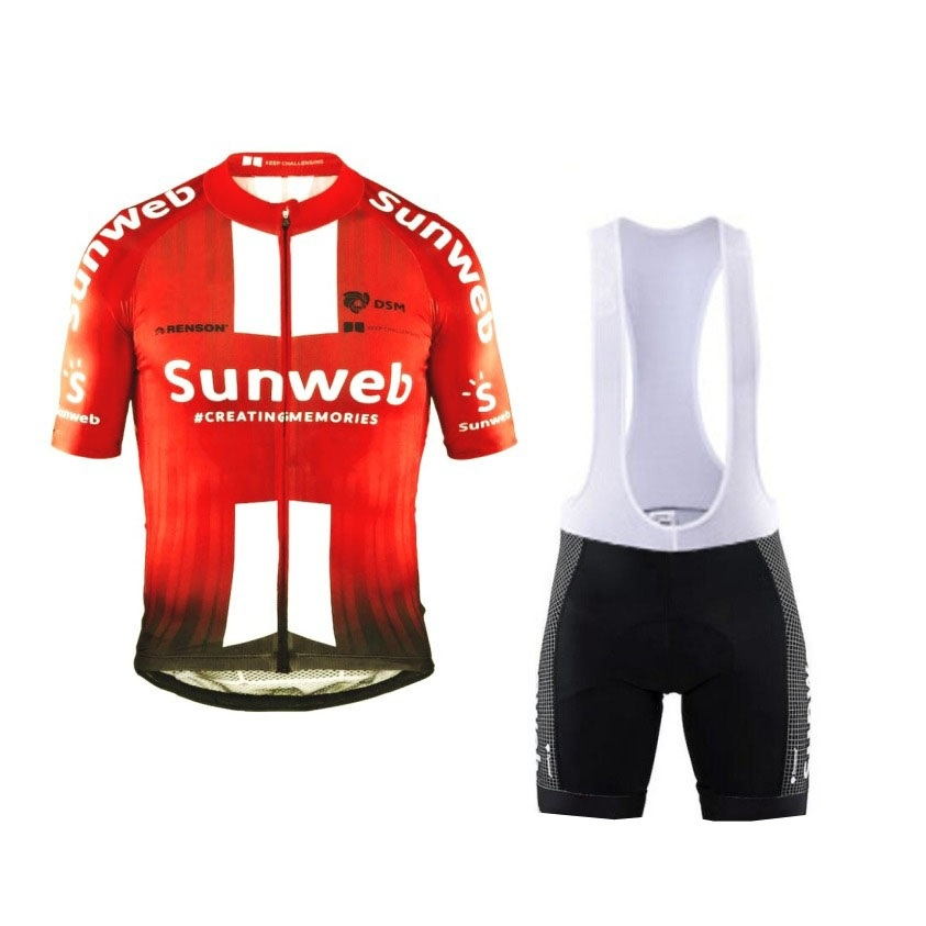 2019 pro tour team sunweb red cycling jersey set Bicycle maillot breathable MTB quick dry bike clothing Ropa ciclismo gel pad