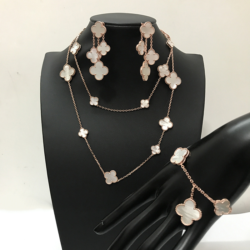Brand Wedding Jewelry Set For Women clover Necklace gold White Mother Shell Pearl Clover Leaf Necklace Earrings Bracelet Set equte women s vintage double birds four leaf clover style weave bracelet white blue