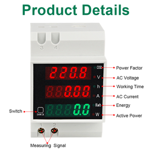 Image 4 - LEDSMITH D52 2047 DIN rail Multi function Digital Meter AC 80 300V 0 100A Active Power Factor electric energy Ammeter Voltmeter