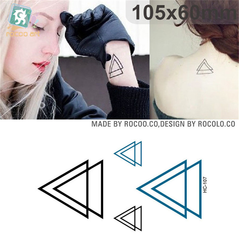 Harajuku Waterproof Temporary Tattoos For Men Women Fashion 3d Triangle Design Flash Tattoo Sticker Free Shipping HC-107
