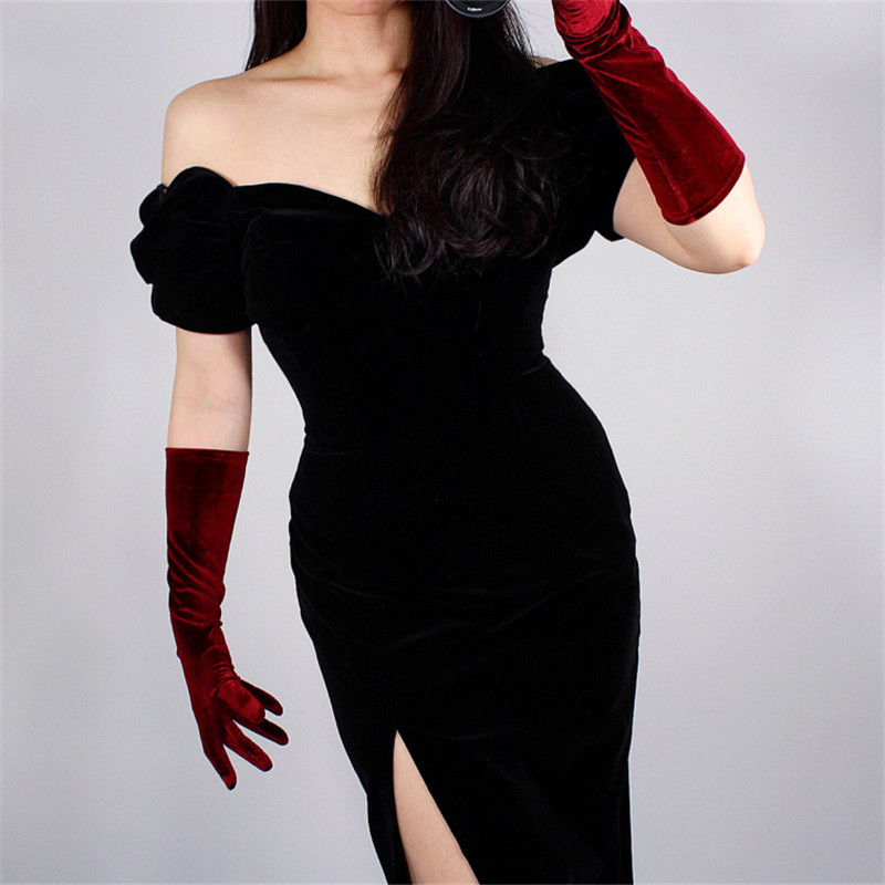 40cm Velour Gloves Long Section Wine Red Dark Red Female High Elastic Swan Velvet Gold Velour Touchscreen Woman WSR04