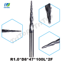 1pc R1 0 D8 47 100L 2F 8mm Tungsten Carbide Ball Nose Cone Type Tapered End