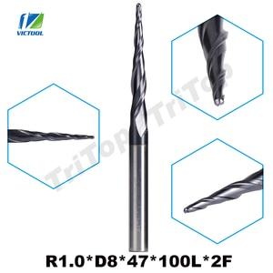 Image 1 - 1pc R1.0 * D8 * 47 * 100L * 2F 8 milímetros de tungstênio carboneto de Bola Nariz cone tipo Cônico ferramentas de Fresa cnc fresa router bits