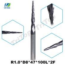 1pc R1.0 * D8 * 47 * 100L * 2F 8mm kulka z węglika wolfranu nos typ stożka stożkowy frez trzpieniowy frezowanie cnc wiertła frez