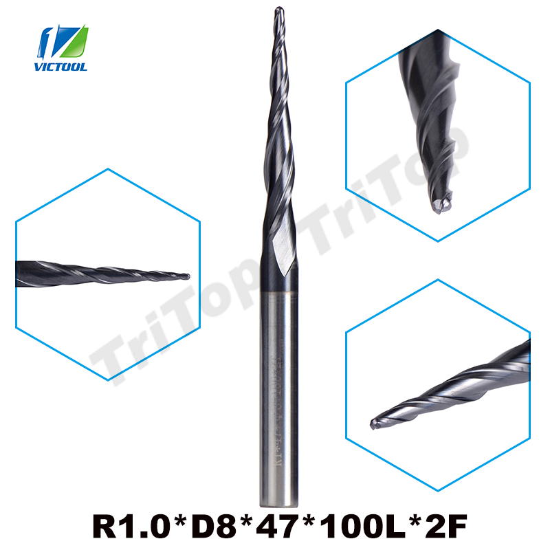 1pc R1.0*D8*47*100L*2F 8mm tungsten carbide Ball Nose cone type Tapered End Mill cnc milling cutter tools router bit tungsten alloy steel woodworking router bit buddha beads ball knife beads tools fresas para cnc freze ucu wooden beads drill