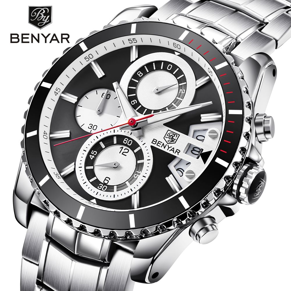 BENYAR Luxury Brand Watch Men Waterproof Sport Watch Stainless Steel Quartz Chronograph Watch Male Clock relogio erkek kol saati xinew male clock luxury brand stainless steel quartz military sport leather band dial men wrist watch erkek kol saati hot sale