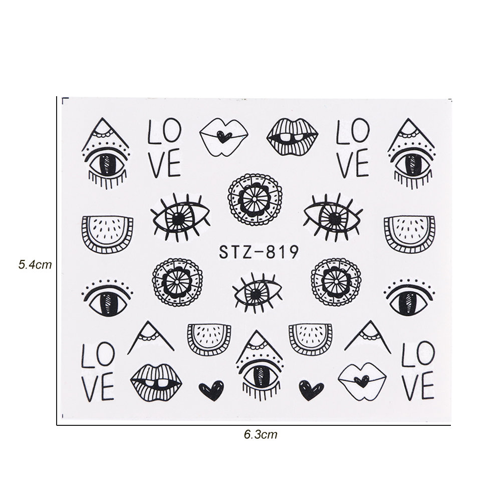 Image 2 - 1pc Eye Series Water Transfer Slider for Nail Art Decorations Charming Sticker Nail Manicure Tattoos Foil Decals CHSTZ818 823-in Stickers & Decals from Beauty & Health
