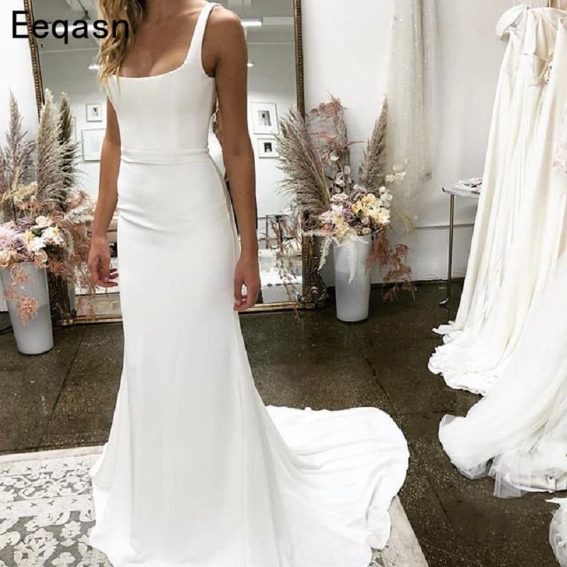 Vestido De Noiva 2020 Elegant Wedding Dresses Sheath Elastic Satin Boho Cheap Wedding Gown Bridal Dresses Bridal Gown