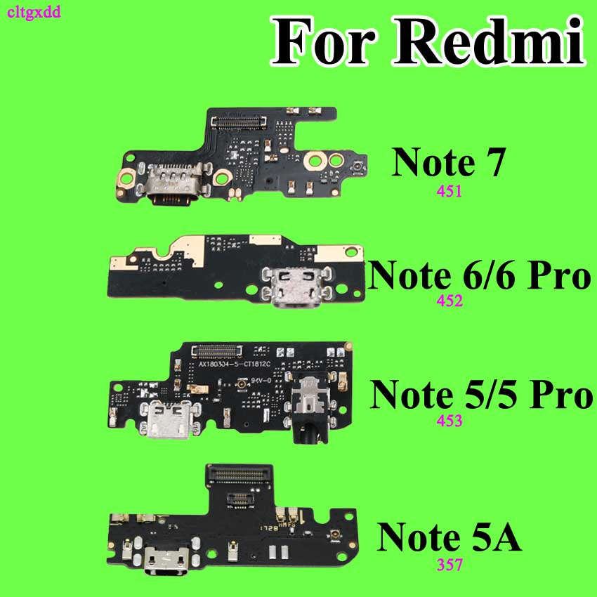 Cltgxdd For Xiaomi Redmi Note 7 6 5 6Pro 5Pro 5A Microphone Module + USB Charging Port Board Flex Cable Connector