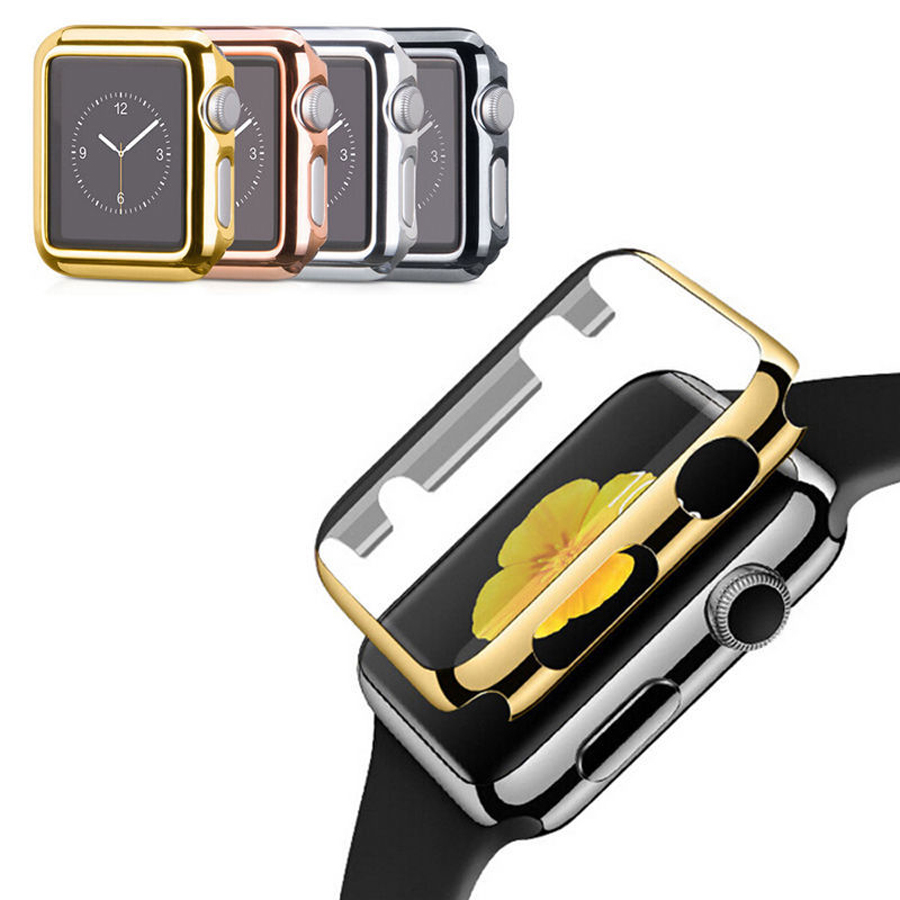 For Apple Watch 38/42mm Plastic Protection Cover with Screen Protector Two in One Full Body Electroplate Protective Cover Case