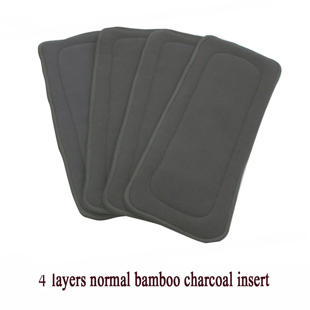 1pc Reusable 4 Layers Bamboo Charcoal Cloth Diapers Inserts Nappy Changing Mat Baby Diapers Washable Cloth Nappy
