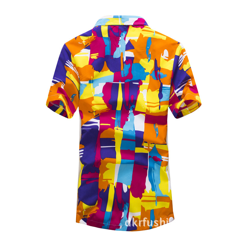 b7e458067f US $14.99  Brand Tropical Hawaiian Shirts Full Floral Men's Short Sleeve  Casual Beach Party Shirts Tops Fast drying Asian Size L 5XL shirt-in Casual  ...