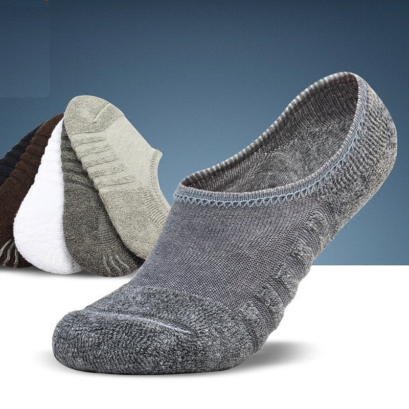 Free Shipping 6pcs=3pairs/lot Men's Invisible Towel Style Cotton Socks Stripe Boat Anti Slip, High Qualtiy New Big Size
