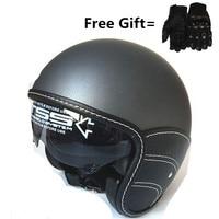 WANLI PU Leather Harley 3/4 Chopper Bike open face vintage motorcycle helmet Antique motorcycle XS 53 54