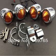 4x Bullet 39mm 41mm Chrome Relocation Fork Clamp Turn Signal Light For Harley Honda Yamaha Suzuki