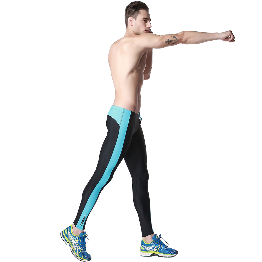 Mens Tight Flexible Long swimwear Exercise Pants Fitness Color matching Competition leggings