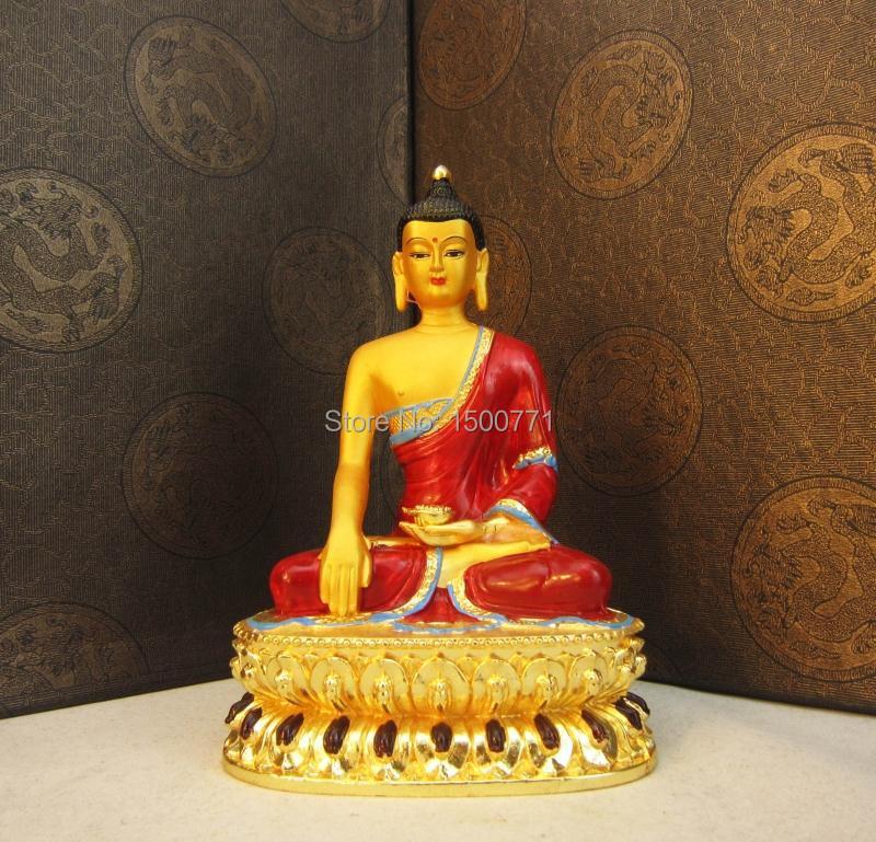 Buddha socha / Sambo Buddha Amitabha buddhista dodává 6-palcová socha Sakyamuni sochy Buddhy malované mědi