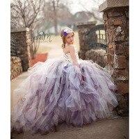Amazing Fluffy 3 Layer Flower Girl Dress Ivory Satin Mix Color Train Tulle Kids Tutu Dess